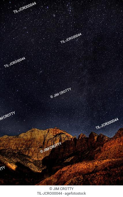 Stars and Milky Way above Zion National Park Utah