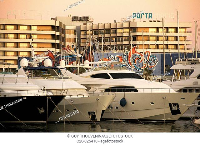 Casino and buildings in front of marina at sunset, Alicante. Comunidad Valenciana, Spain