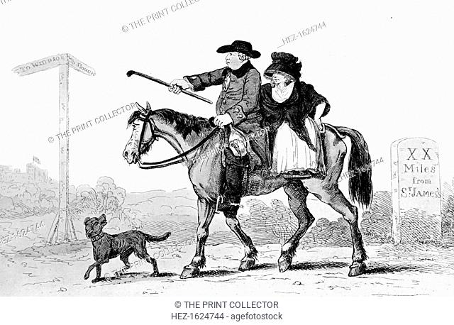 'The Constant Couple', 1786. The Prince of Wales (future King George IV) and his mistress Mrs Fitzherbert travelling to Windsor