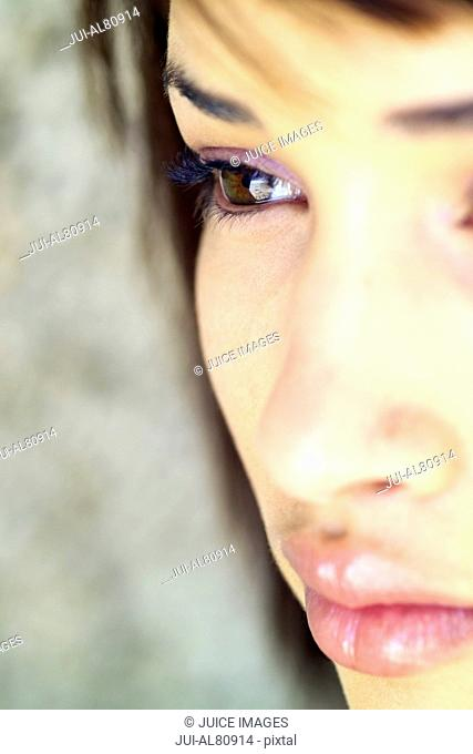 Extreme close up of woman's face