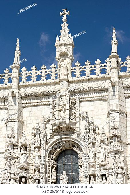 Mosteiro dos Jeronimos or Jeronimos Monastery in Belem, part of the UNESCO world heritage. The Manueline south portal. Lisbon (Lisboa) the capital of Portugal