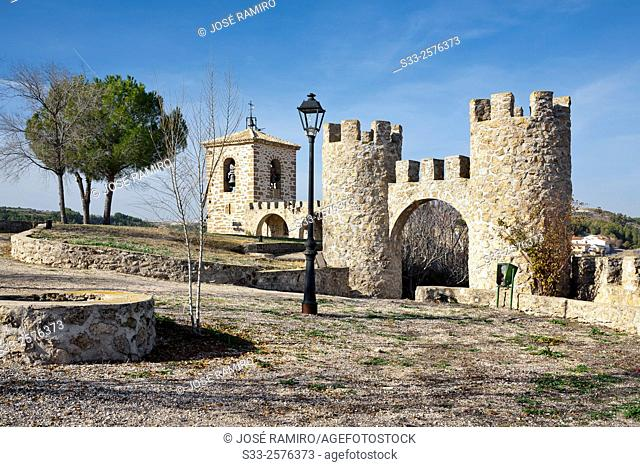 Bell tower and battlements in Almoguera. Guadalajara. Castilla la Mancha. Spain. Europe