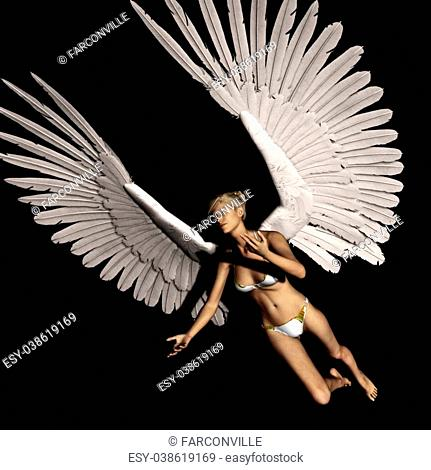 female angel flying in a certain pose