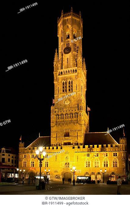 Illuminated Belfry at night, historic centre of Bruges, Unesco World Heritage Site, Belgium, Europe