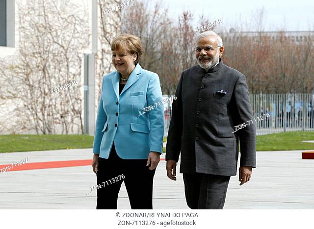 Angela Merkel, German chancellor, welcomes Indian prime minister Narendra Modi, with military honors at the German chancellery on April 14, 2015 in Berlin