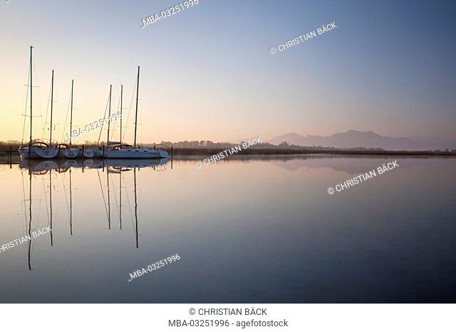 Morning at the lake Chiemsee, Chiemgau, Rimsting, Hochstätt, Upper Bavaria, Bavaria, South Germany, Germany