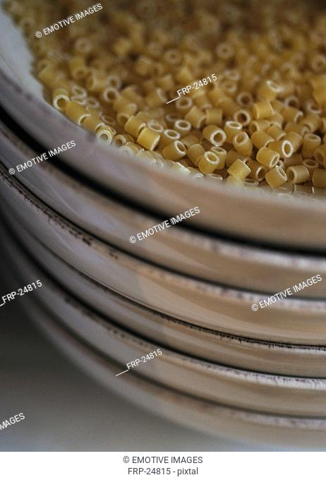 Plate with uncooked noodles
