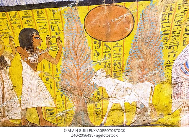 UNESCO World Heritage, Thebes in Egypt, Deir el Medineh, tomb of Irynefer, the dead prays before a white calf, a symbol of the young sun
