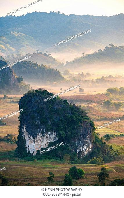 Morning dew over valley, Nan, Thailand