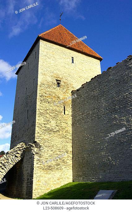 Town wall with watch towers around Tallinn, Estonia