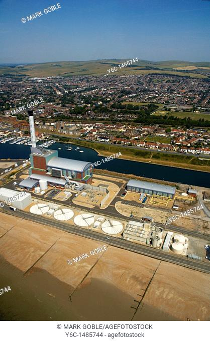 An aerial view of Shoreham power station, Sussex