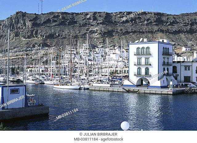 Spain, Canaries, grain Canaria, Puerto,  de Mogan, skyline, harbor, rocks,   Europe, Atlantic island, place, harbor, landing place, marina, sailboats, masts
