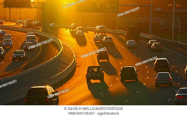 Highway traffic at sunset in Providence, Rhode Island, United States