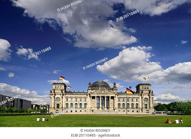 Exterior front view of the Reichstag building which is the seat of the German Parliament designed by Paul Wallot 1884-1894 with glass dome by Sir Norman Foster...
