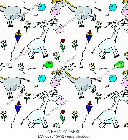 gray little donkeys and balloons with flowers, seamless pattern isolated on white background
