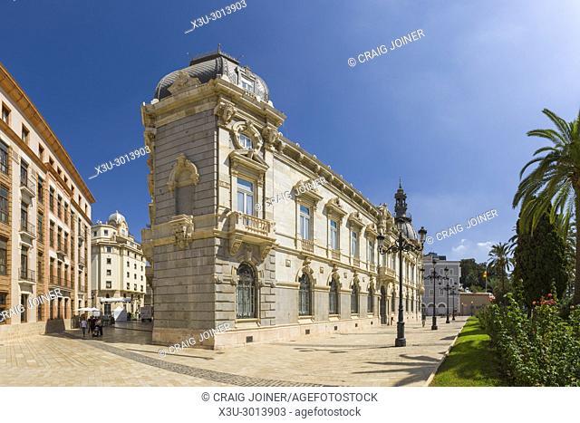 The Palace, or Town Hall, of Cartagena beside Plaza Héroes de Cavite. Cartagena, Region of Murcia, Spain