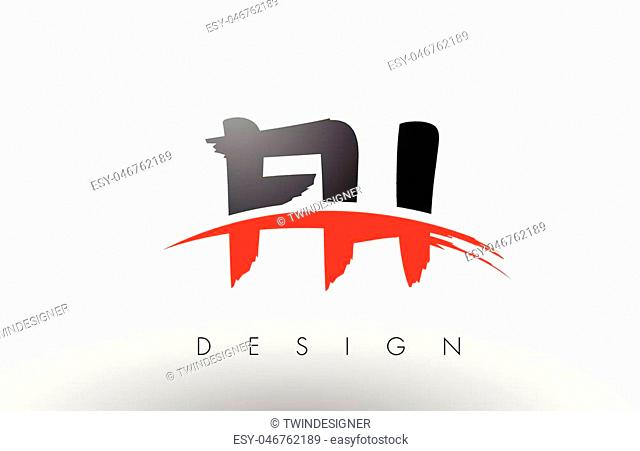 FH F H Brush Logo Letters Design with Red and Black Colors and Brush Letter Concept