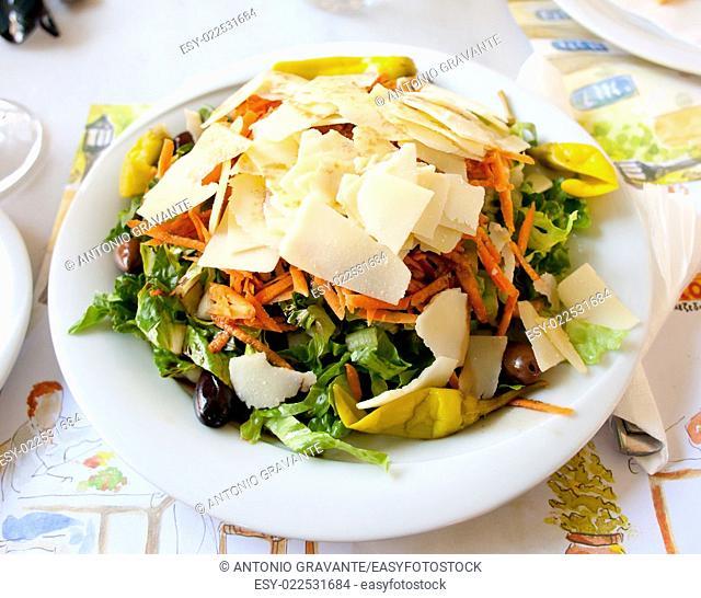 Fresh vegetable Greek salad, typical greek food