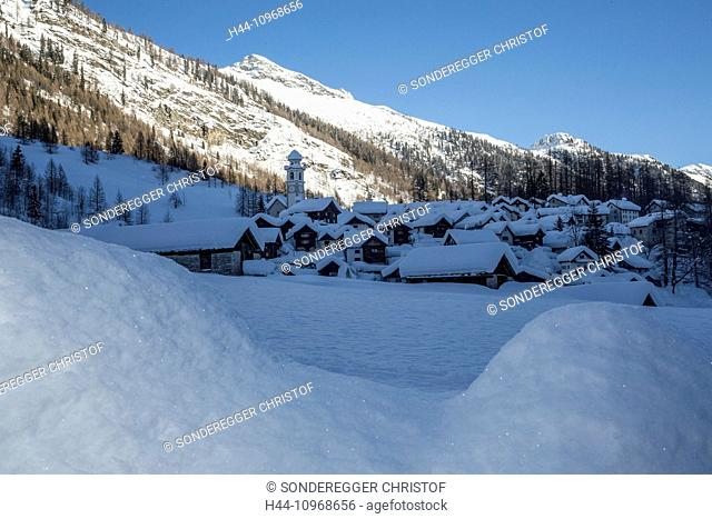 Maggia valley, Bosco Gurin, winter, village, snow, winter, canton, Ticino, Southern Switzerland, Switzerland, Europe