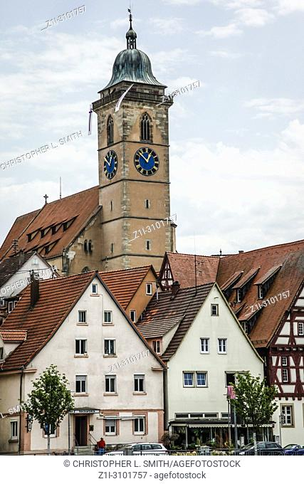 The bell tower of the Evangelical Church dominating the skyline in Nurtingen, Southern Germany