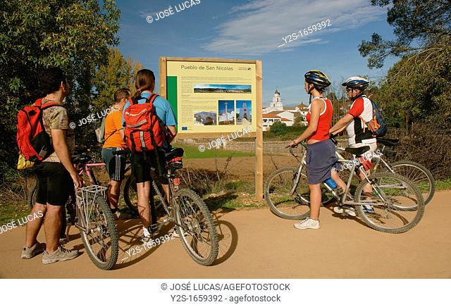 «Green way» of North Range and cyclists, San Nicolas del Puerto, Seville-province, Spain