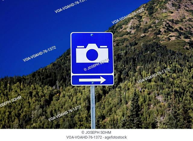 September 2, 2016 - Road Sign pointing out Scenic View Spot for photos, Alaska backroads