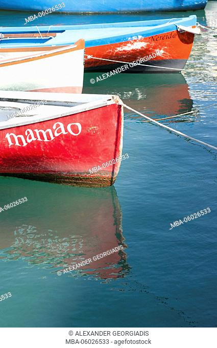 Fishing boats in the harbour, Lazise, Lake Garda, Italy