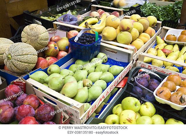 Fruits in crates for sale at an outdoor shop in Amalfi village, Salerno province, Campania region, Italy, Europe