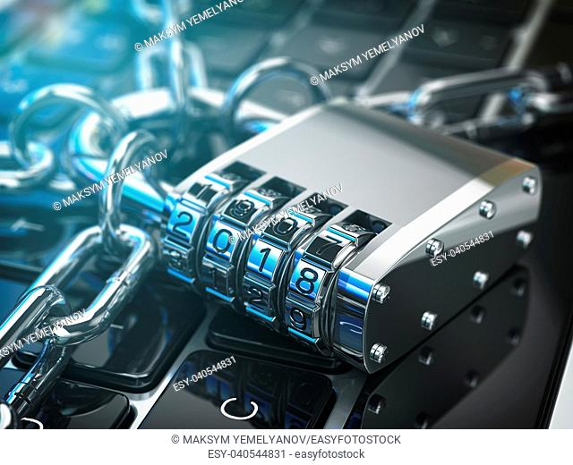 Computer security or safety concept. Laptop keyboard with lock password 2018 and chain. 3d illustration