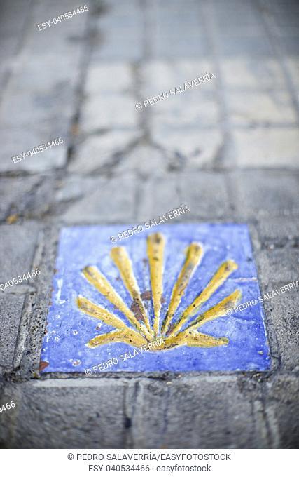 Santiago shell close up in Jaca, Huesca, Aragon, Spain