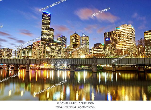 Skyline with skyscrapers (Eureka Tower) at the Yarra River, city landscape, Melbourne, Victoria, Australia, Oceania