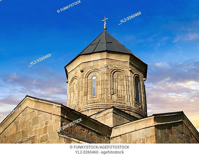 Pictures & images of Gergeti Holy Trinity (Tsminda Sameba) Georgian Orthodox and Apostolic Church cupola close up, 14th century, Gergeti, Khevi province