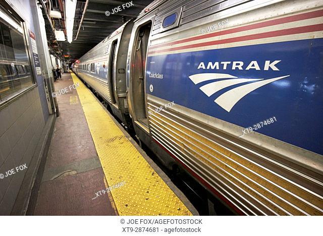underground amtrak train at tracks penn station New York City USA