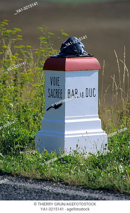 France, Meuse (55), Verdun, milepost of Voie sacree D1916 road, historic road from Bar le Duc to Verdun during WWI