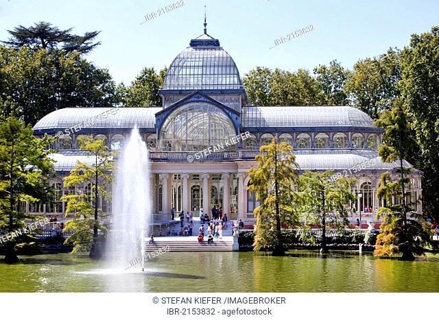 Crystal Palace, Palacio de Cristal, in the Parque del Buen Retiro in Madrid, Spain, Europe