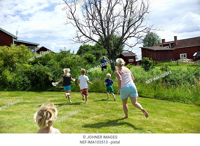 Family playing outdoor