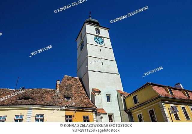Council Tower (Turnul Sfatului) on Large Square in Historic Center of Sibiu city of Transylvania region, Romania
