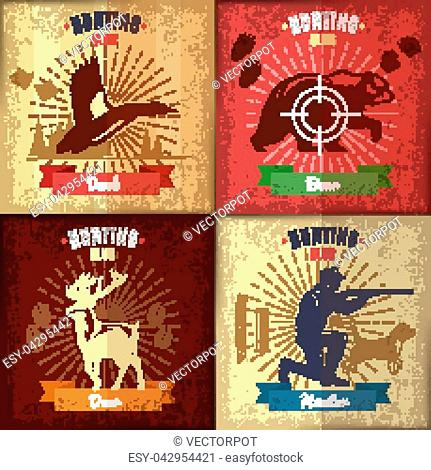 Hunting club emblems set with different wild animals hound and hunter in vintage style vector illustration