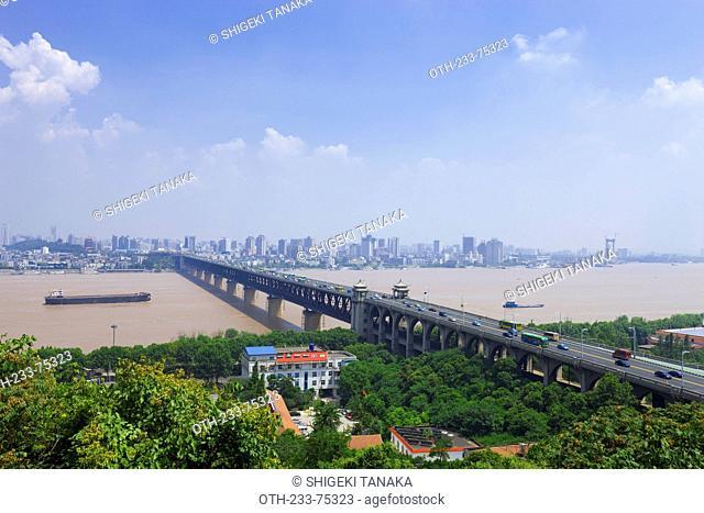 Yangtze river(Changjiang) with Wuhan Yangtze River Bridge view from Guishan park, Wuhan, Hubei Province, PRC