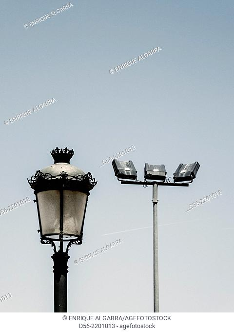 modern and lamp posts, Valencia, Spain