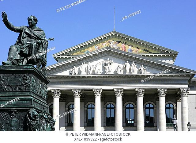 Monument of Max Joseph 1st in front of bavarian state opera in building of Munich