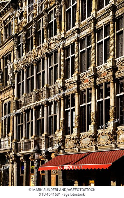 Flemish Buildings and Cafe in The Grand Place in Brussels Belgium