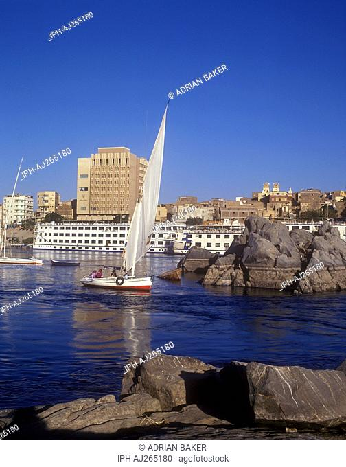 Feluccas sailing on the River Nile at Aswan in Upper Egypt
