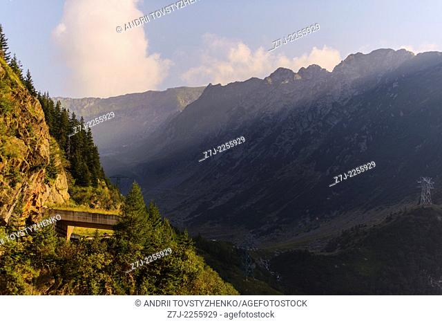 Serpentine road in the mountains of Romania. Pass Transfegerash
