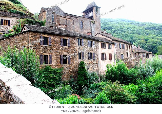 View on the village of Brousse le Chateau, Aveyron, Occitanie, Languedoc, Roussillon, France