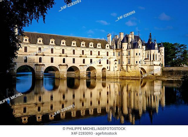 France, Indre-et-Loire, Chenonceau Castle and the Cher river