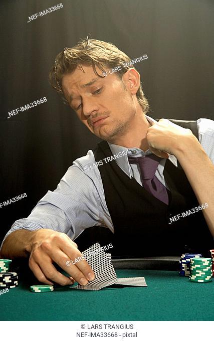 A man playing poker