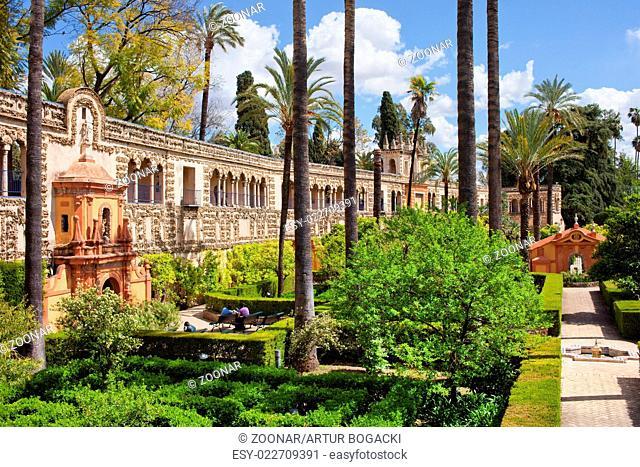 Garden of the Pond in Real Alcazar of Seville