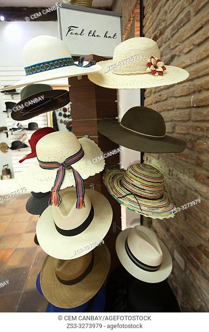 Traditional hats for sale in the shop at the historic center, Quito, Ecuador, South America