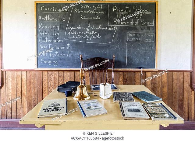 Chalkboard and teachers desk at Blumenhof Mennonite School, Mennonite Heritage Village, Steinbach, Manitoba, Canada